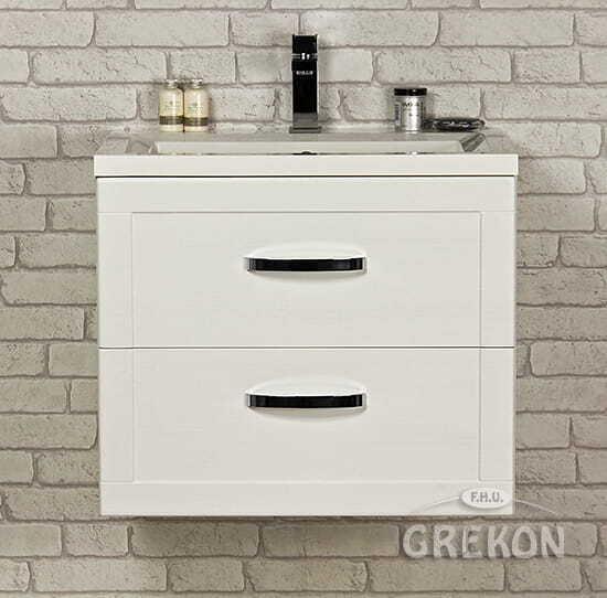 Grekon szafka z umywalką Meiva 61x46 biała MVA-B-U61/46/2 + MEWA-610C