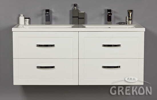 Grekon szafka z podwójną umywalką Meiva 121x46 biała MVA-B-U121/46/4 + MEWA-1210D