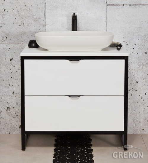 Grekon szafka New York z białą umywalką 80x52 biała NY-B-U80/50/2 + PREMIUM 60