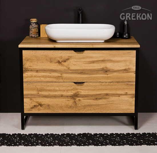 Grekon szafka New York z białą umywalką 100x52 dąb naturalny NY-NE-U100/50/2 + PREMIUM 60