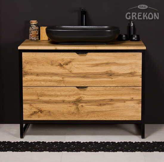 Grekon szafka New York z czarną umywalką 100x52 dąb naturalny NY-NE-U100/50/2 + PREMIUM 60