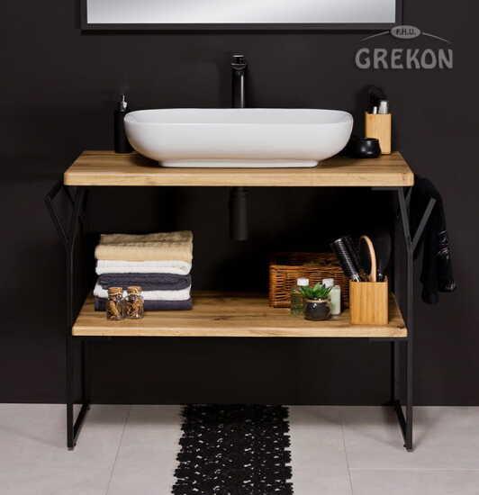 Grekon szafka New York z białą umywalką 101x49 dąb naturalny NY-NE-U100-ST + PREMIUM 60