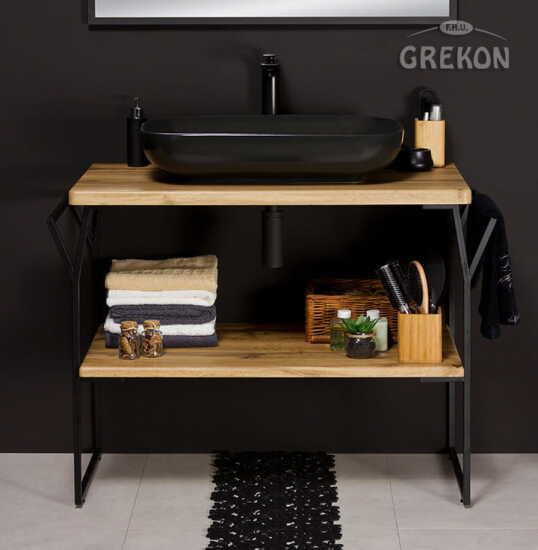 Grekon szafka New York z czarną umywalką 101x49 dąb naturalny NY-NE-U100-ST + PREMIUM 60