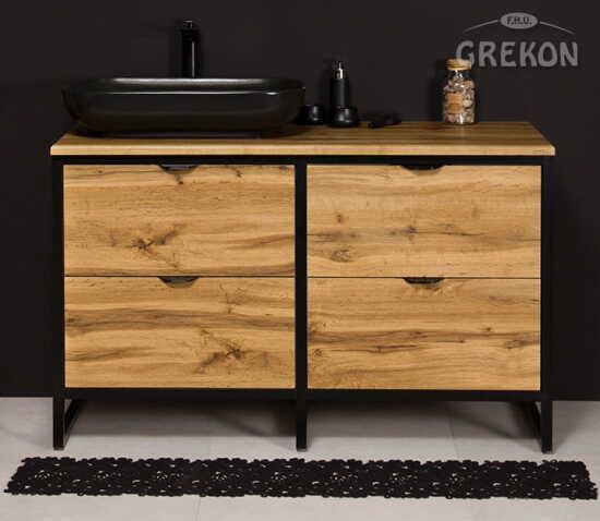 Grekon szafka New York z czarną umywalką 120x52 dąb naturalny NY-NE-U120/50/4 + PREMIUM 60