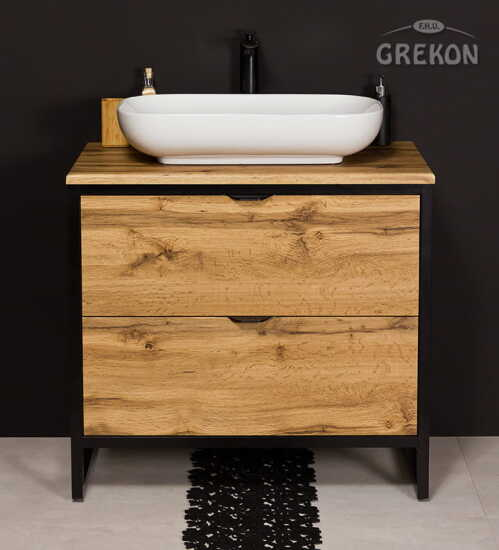 Grekon szafka New York z białą umywalką 80x52 dąb naturalny NY-NE-U80/50/2 + PREMIUM 60