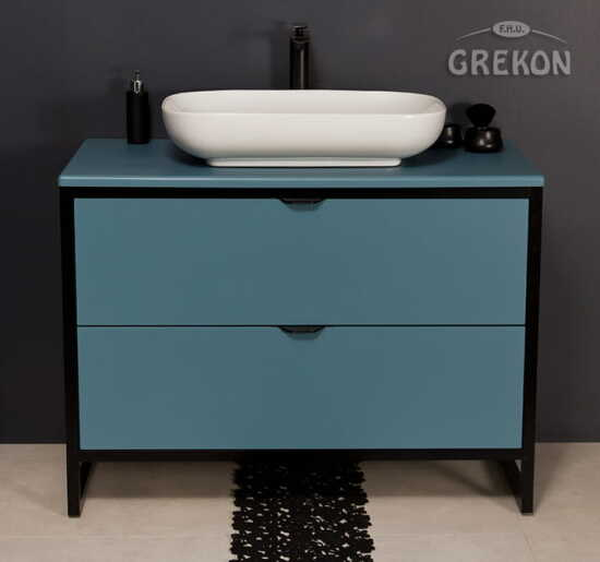 Grekon szafka New York z białą umywalką 100x52 niebieska NY-N-U100/50/2 + PREMIUM 60
