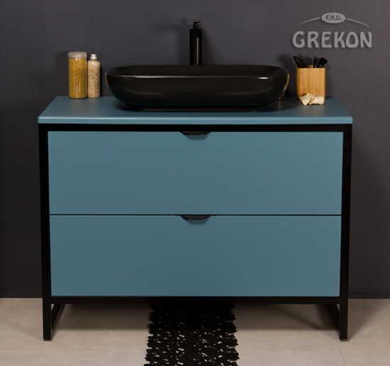 Grekon szafka New York z czarną umywalką 100x52 niebieska NY-N-U100/50/2 + PREMIUM 60