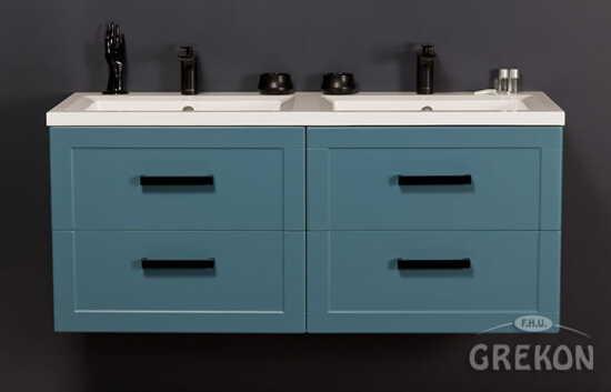 Grekon szafka z podwójną umywalką Meiva 121x46 niebieska MVA-N-U121/46/4 + MEWA-1210D