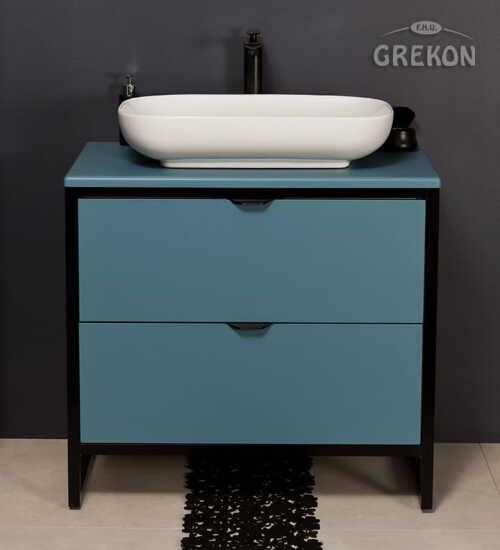 Grekon szafka New York z białą umywalką 80x52 niebieska NY-N-U80/50/2 + PREMIUM 60