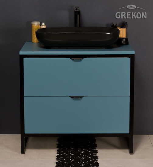 Grekon szafka New York z czarną umywalką 80x52 niebieska NY-N-U80/50/2 + PREMIUM 60